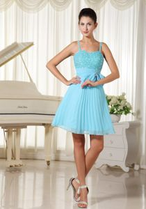 Beaded and Pleated Aqua Blue Spaghetti Straps Graduation Dresses with Bowknot